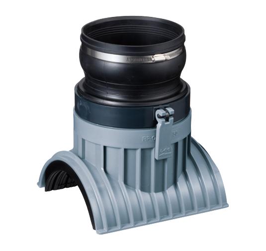 リブ付管用 回転固定式90度可とう受口支管