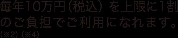 毎年10万円(税込)を上限に1割のご負担でご利用になれます。
